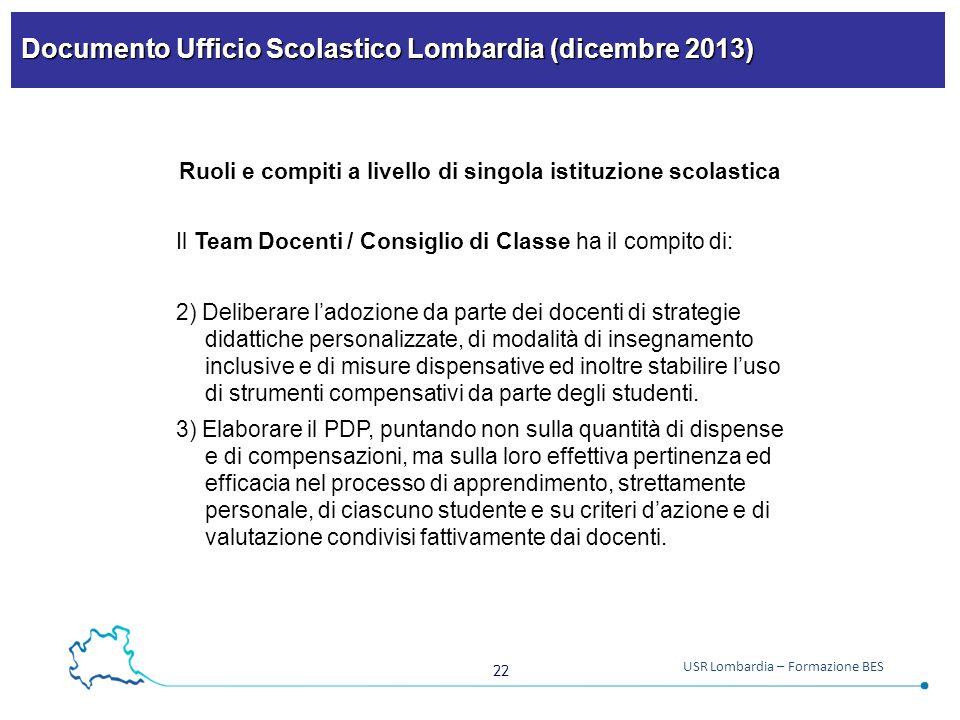 Documento Ufficio Scolastico Lombardia (dicembre 2013)