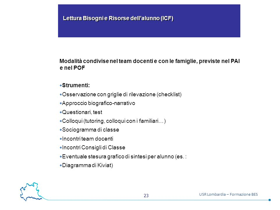 Lettura Bisogni e Risorse dell'alunno (ICF)