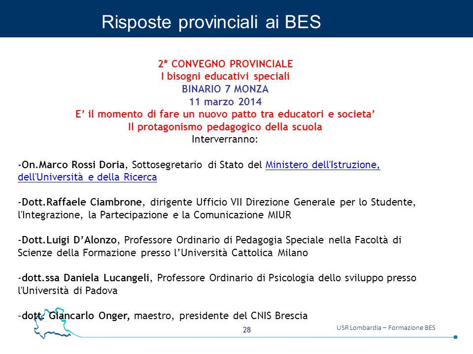 Risposte provinciali ai BES