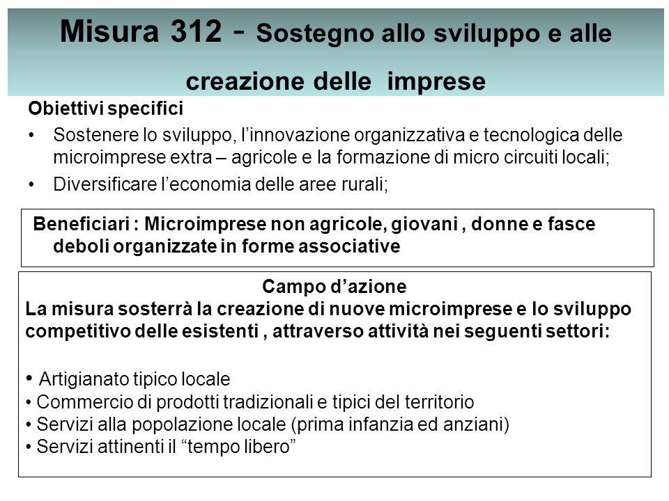 Misura 312 - Sostegno allo sviluppo e alle creazione delle imprese