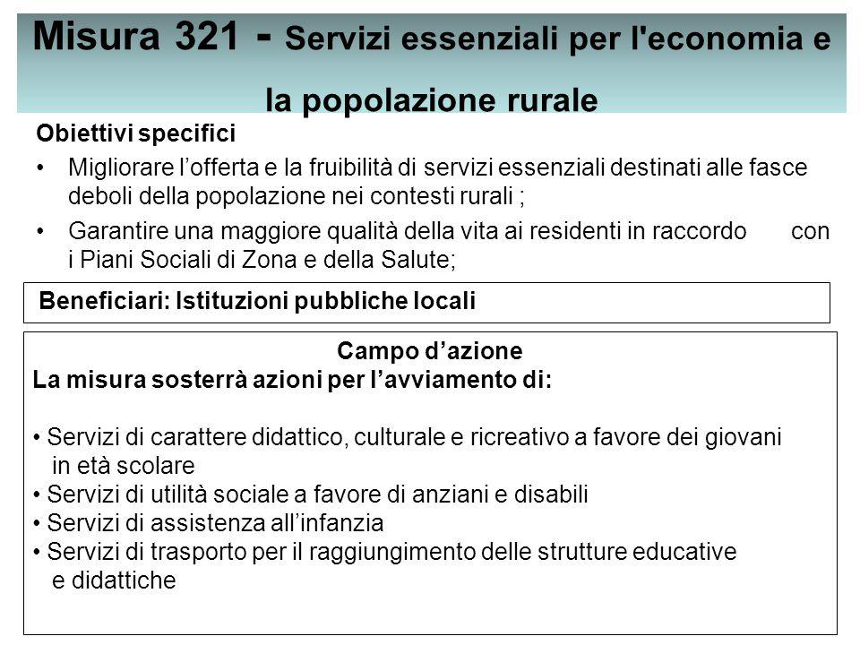 Misura 321 - Servizi essenziali per l economia e la popolazione rurale