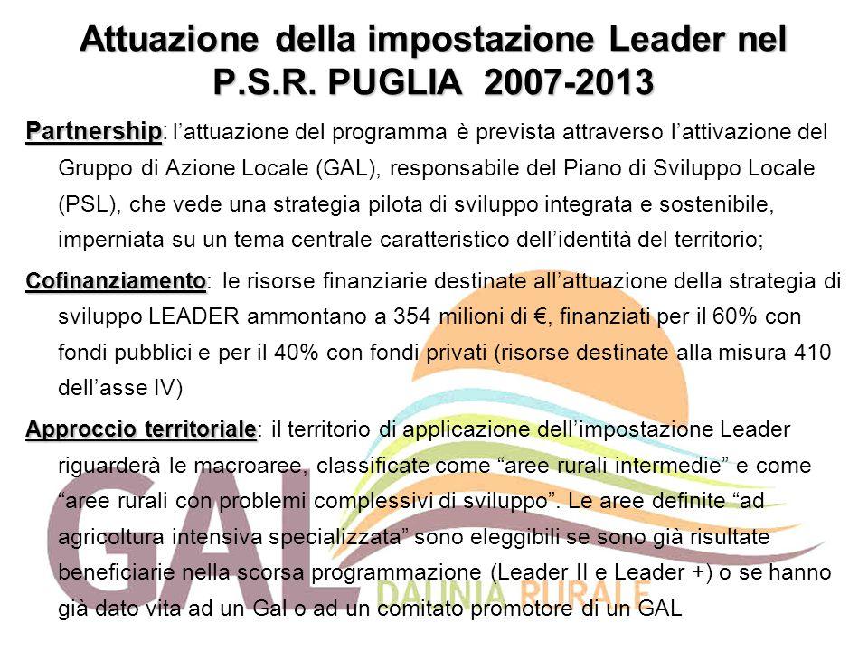 Attuazione della impostazione Leader nel P.S.R. PUGLIA 2007-2013