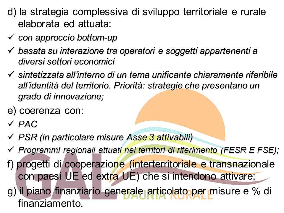 d) la strategia complessiva di sviluppo territoriale e rurale elaborata ed attuata: