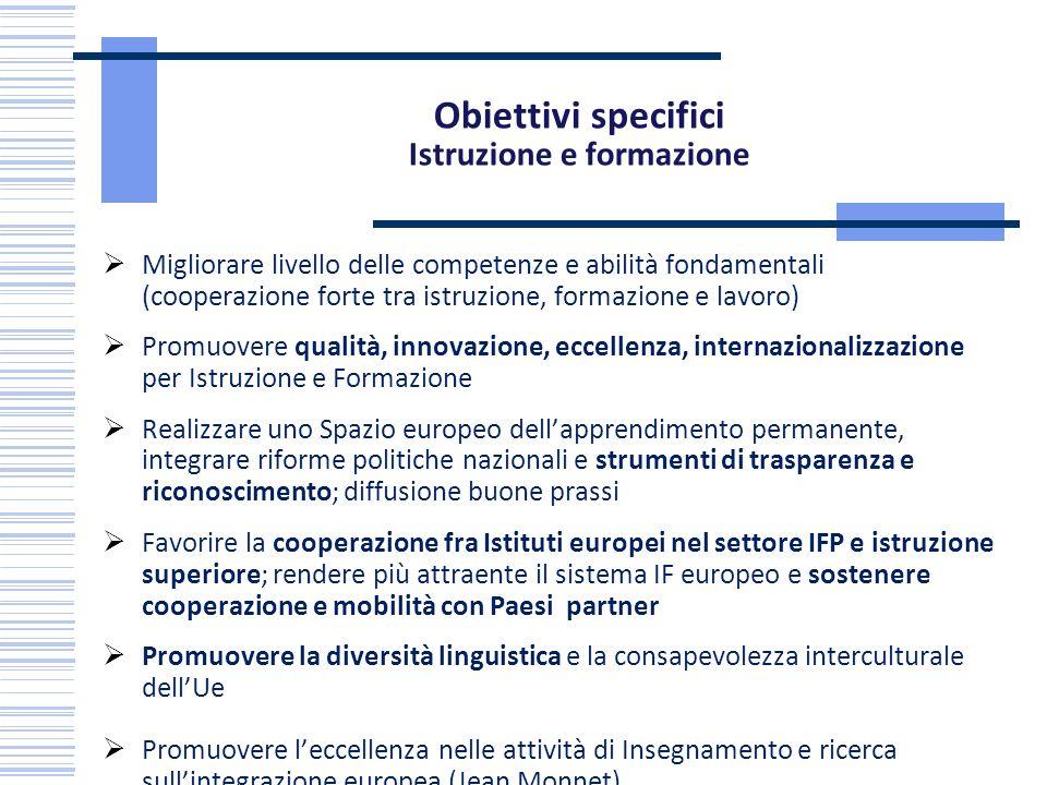 Obiettivi specifici Istruzione e formazione