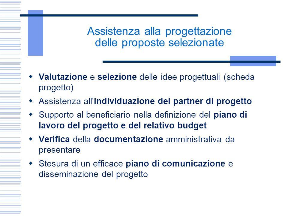 Assistenza alla progettazione delle proposte selezionate