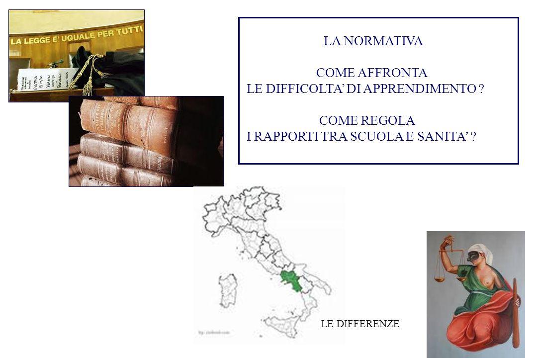 LE DIFFICOLTA' DI APPRENDIMENTO COME REGOLA