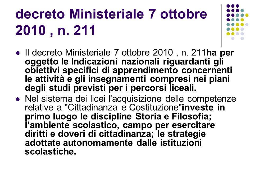decreto Ministeriale 7 ottobre 2010 , n. 211