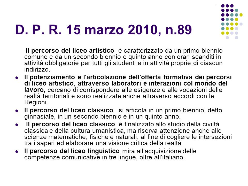 D. P. R. 15 marzo 2010, n.89
