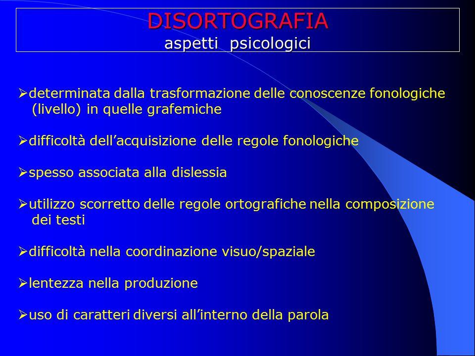DISORTOGRAFIA aspetti psicologici