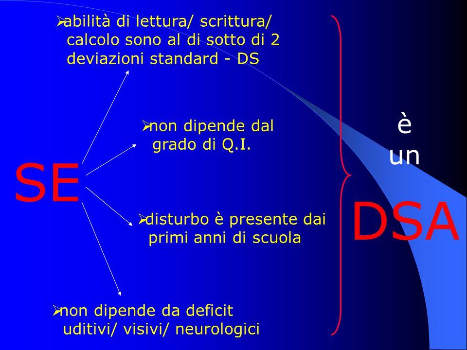 DSA SE è un abilità di lettura/ scrittura/
