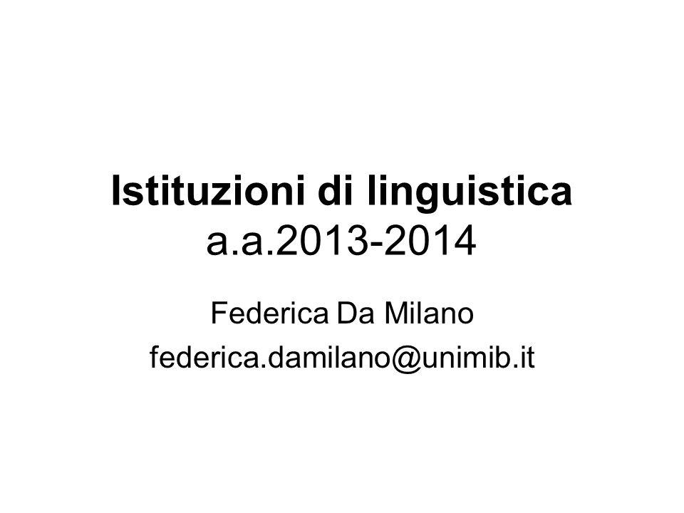 Istituzioni di linguistica a.a.2013-2014