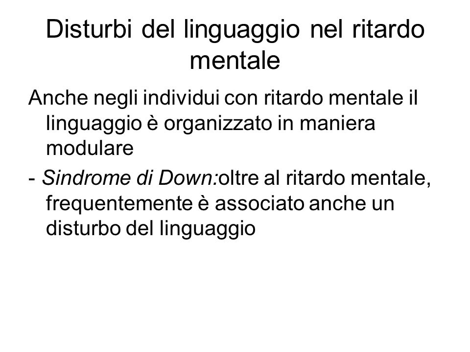 Disturbi del linguaggio nel ritardo mentale