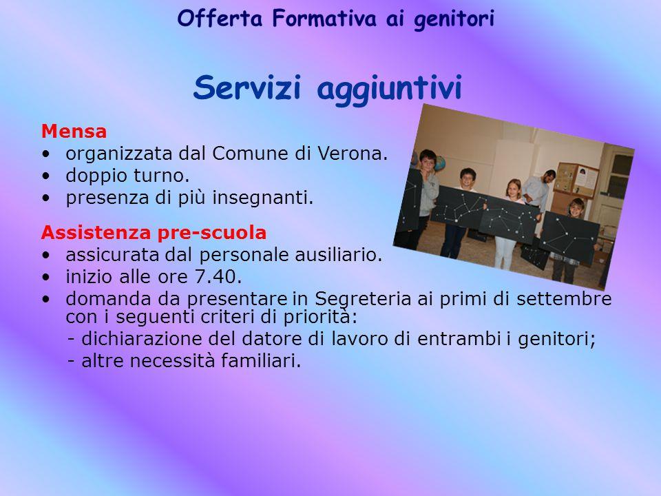 Servizi aggiuntivi Mensa organizzata dal Comune di Verona.