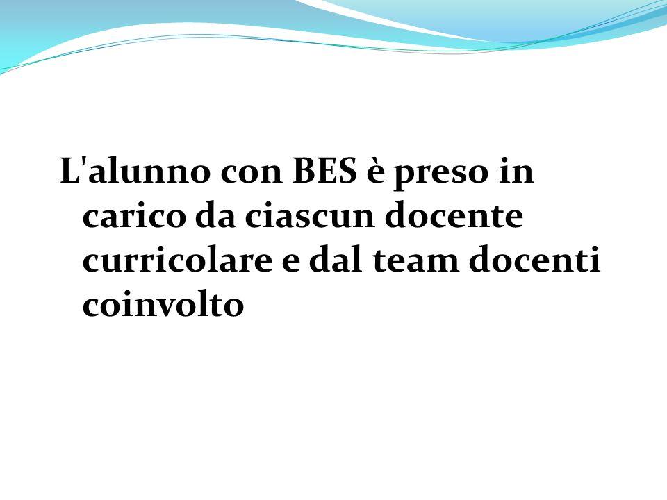 L alunno con BES è preso in carico da ciascun docente curricolare e dal team docenti coinvolto