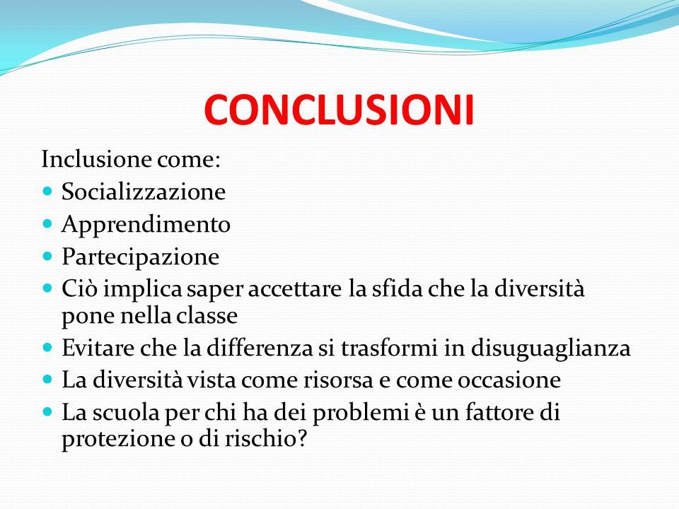 CONCLUSIONI Inclusione come: Socializzazione Apprendimento