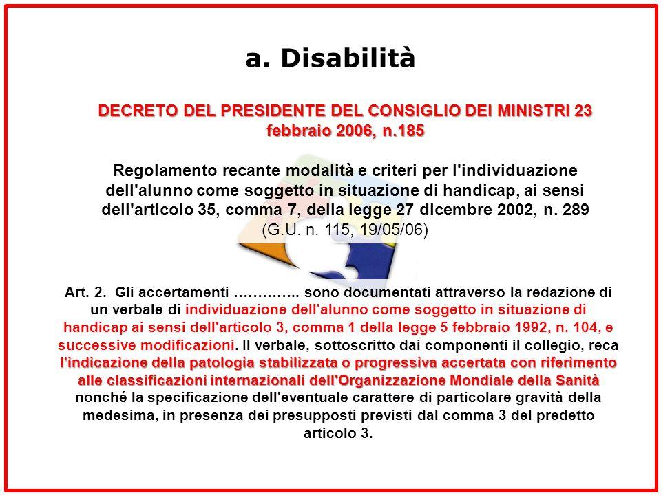 a. Disabilità DECRETO DEL PRESIDENTE DEL CONSIGLIO DEI MINISTRI 23 febbraio 2006, n.185.