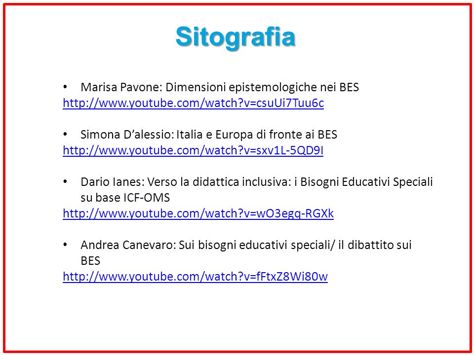 Sitografia Marisa Pavone: Dimensioni epistemologiche nei BES