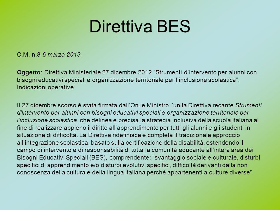 Direttiva BES C.M. n.8 6 marzo 2013