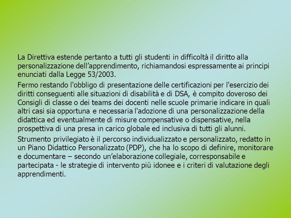 La Direttiva estende pertanto a tutti gli studenti in difficoltà il diritto alla personalizzazione dell'apprendimento, richiamandosi espressamente ai principi enunciati dalla Legge 53/2003.