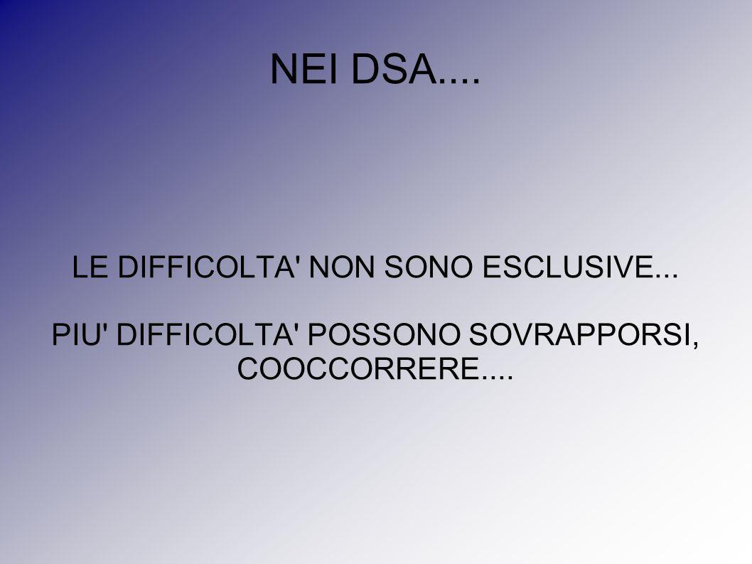 NEI DSA.... LE DIFFICOLTA NON SONO ESCLUSIVE...