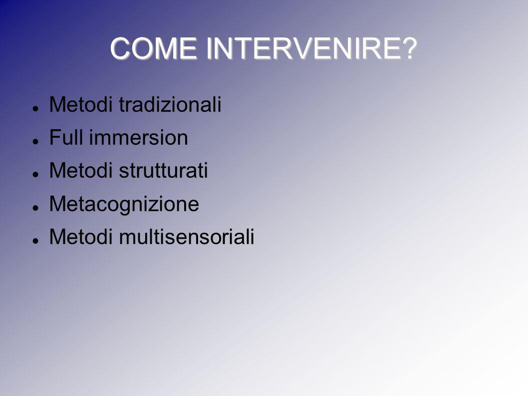 COME INTERVENIRE Metodi tradizionali Full immersion