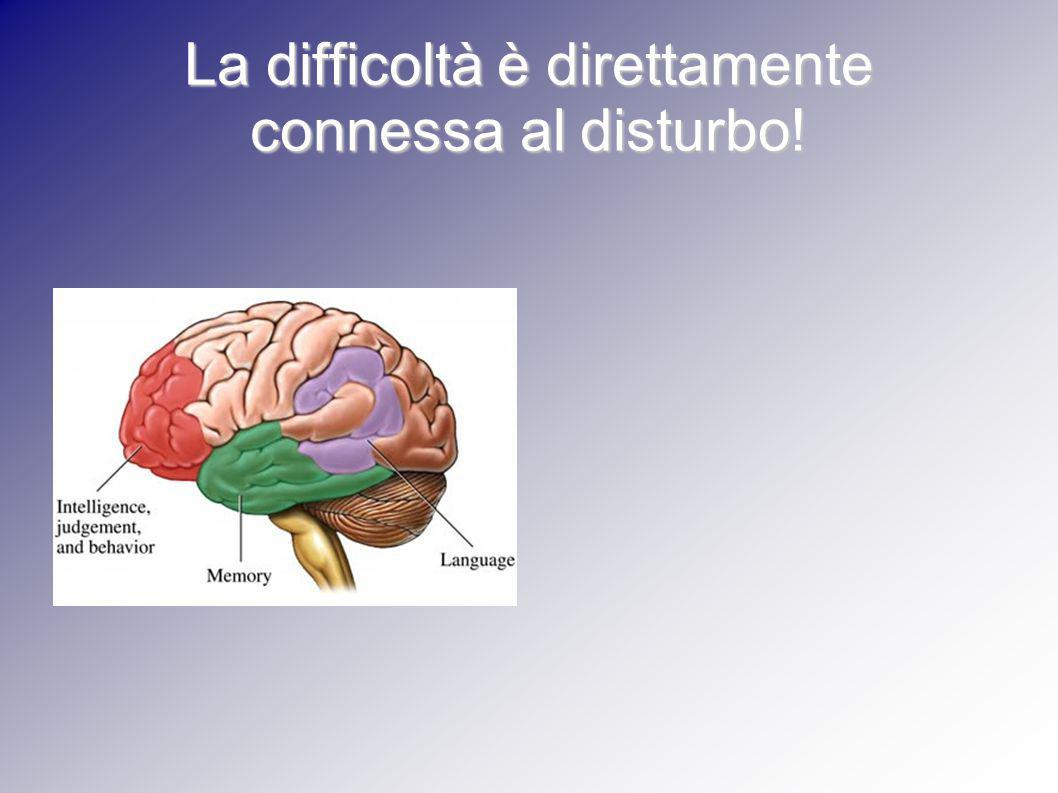 La difficoltà è direttamente connessa al disturbo!