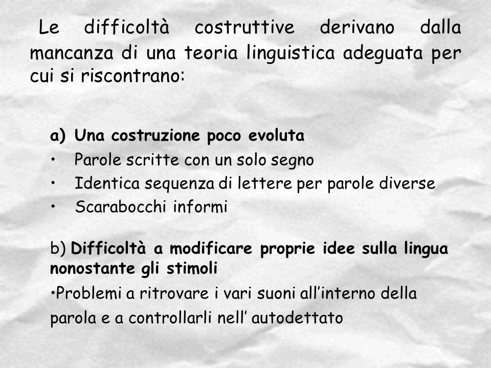 Le difficoltà costruttive derivano dalla mancanza di una teoria linguistica adeguata per cui si riscontrano: