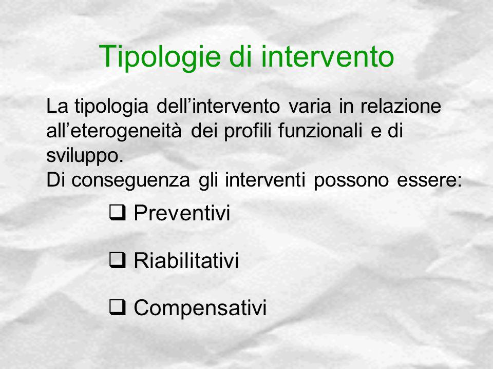 Tipologie di intervento