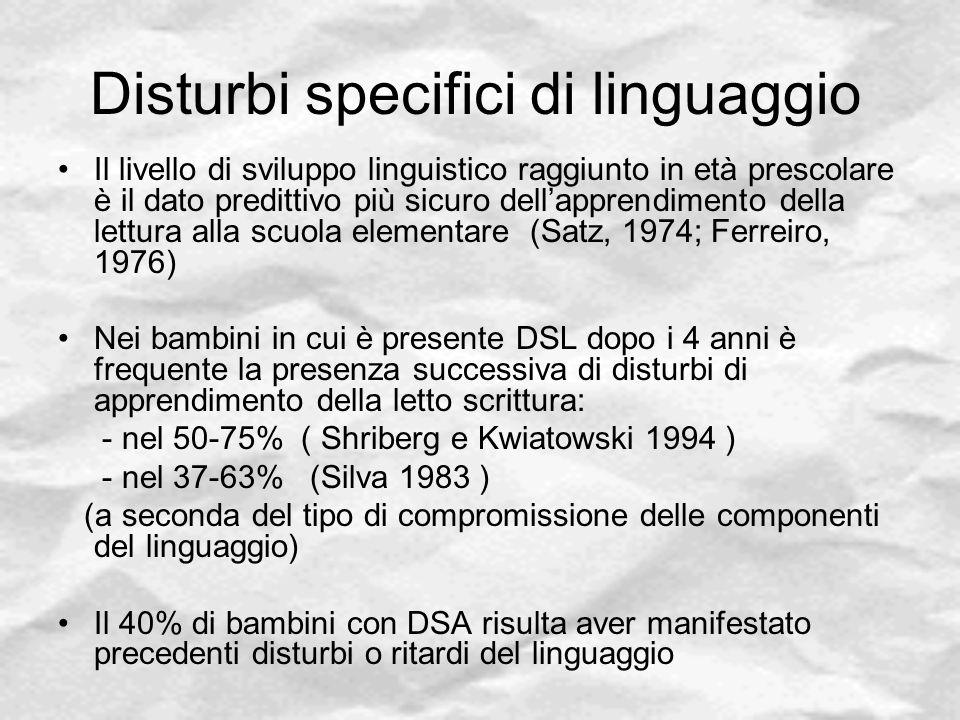 Disturbi specifici di linguaggio