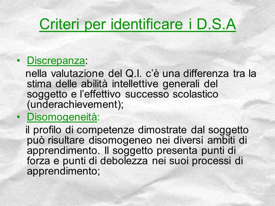 Criteri per identificare i D.S.A