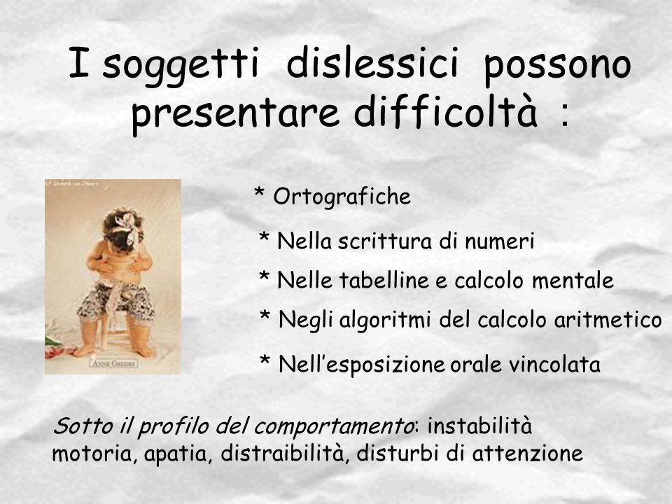 I soggetti dislessici possono presentare difficoltà :