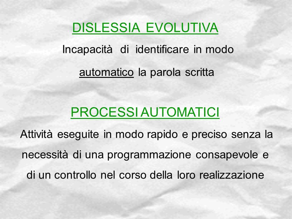 DISLESSIA EVOLUTIVA PROCESSI AUTOMATICI automatico la parola scritta