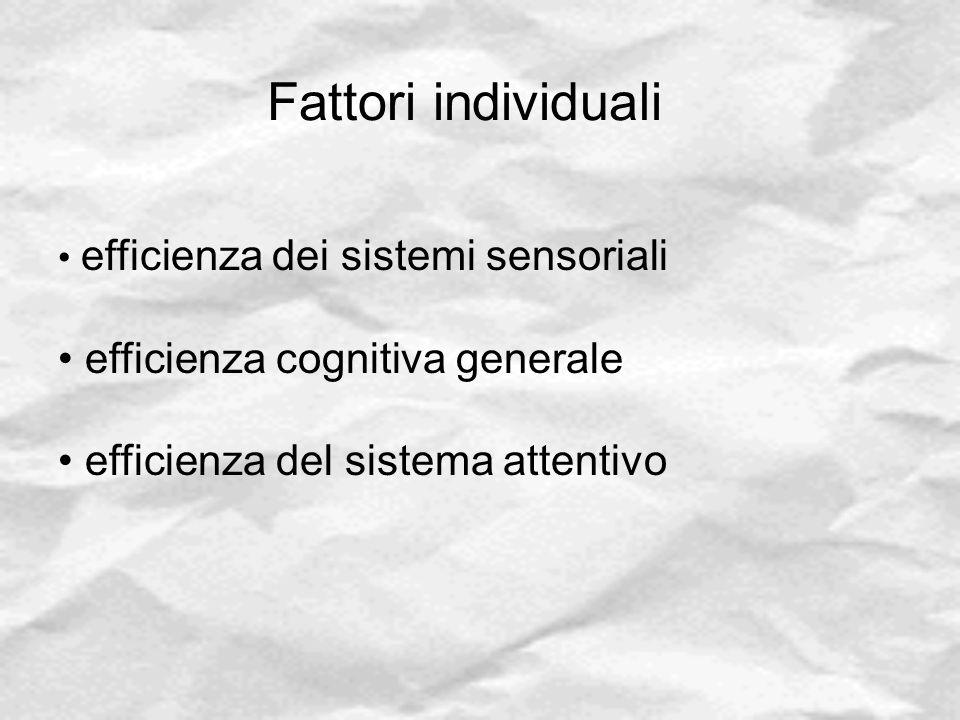 Fattori individuali efficienza cognitiva generale
