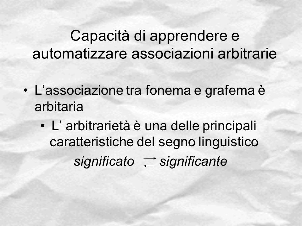 Capacità di apprendere e automatizzare associazioni arbitrarie