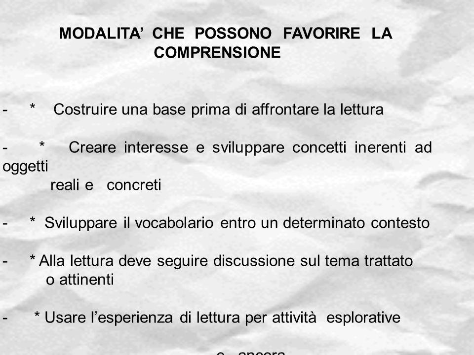 MODALITA' CHE POSSONO FAVORIRE LA COMPRENSIONE