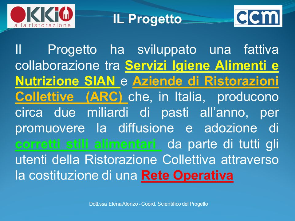 Dott.ssa Elena Alonzo - Coord. Scientifico del Progetto