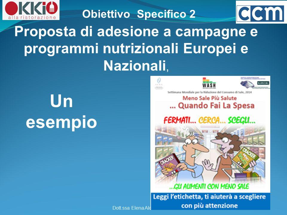 Obiettivo Specifico 2 Proposta di adesione a campagne e programmi nutrizionali Europei e Nazionali,