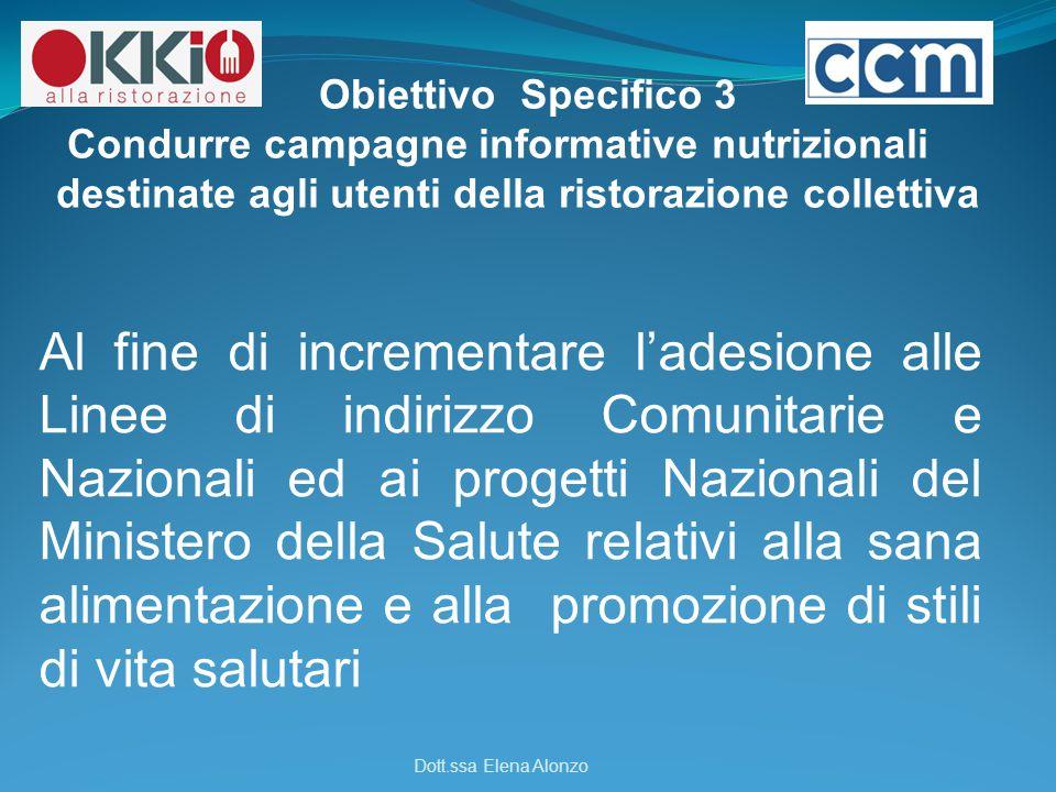 Obiettivo Specifico 3 Condurre campagne informative nutrizionali destinate agli utenti della ristorazione collettiva.