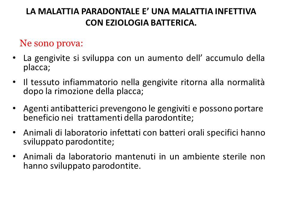 LA MALATTIA PARADONTALE E' UNA MALATTIA INFETTIVA CON EZIOLOGIA BATTERICA.