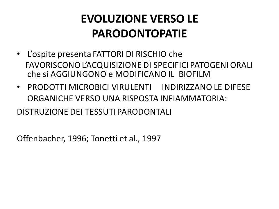 EVOLUZIONE VERSO LE PARODONTOPATIE