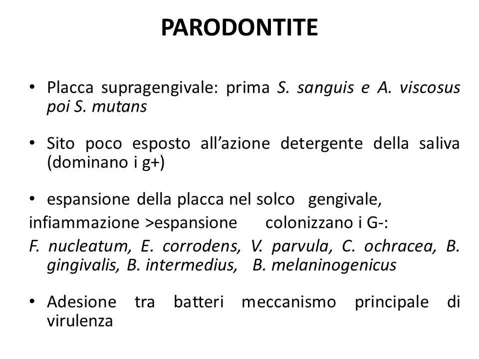 PARODONTITE Placca supragengivale: prima S. sanguis e A. viscosus poi S. mutans.