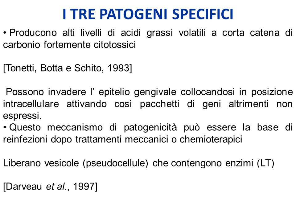 I TRE PATOGENI SPECIFICI