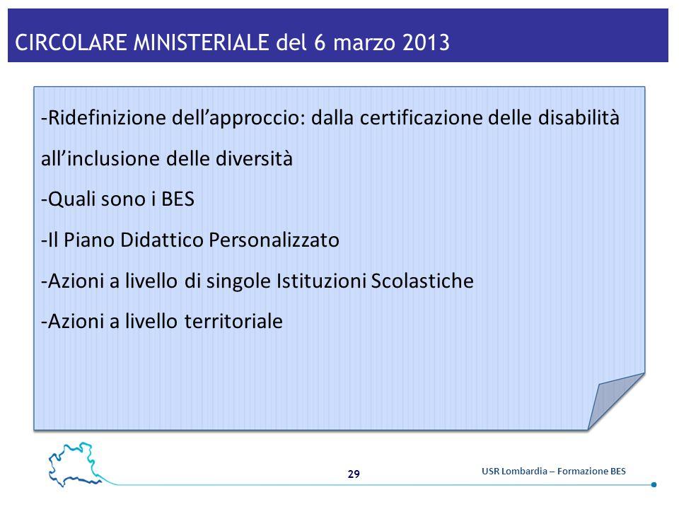 CIRCOLARE MINISTERIALE del 6 marzo 2013