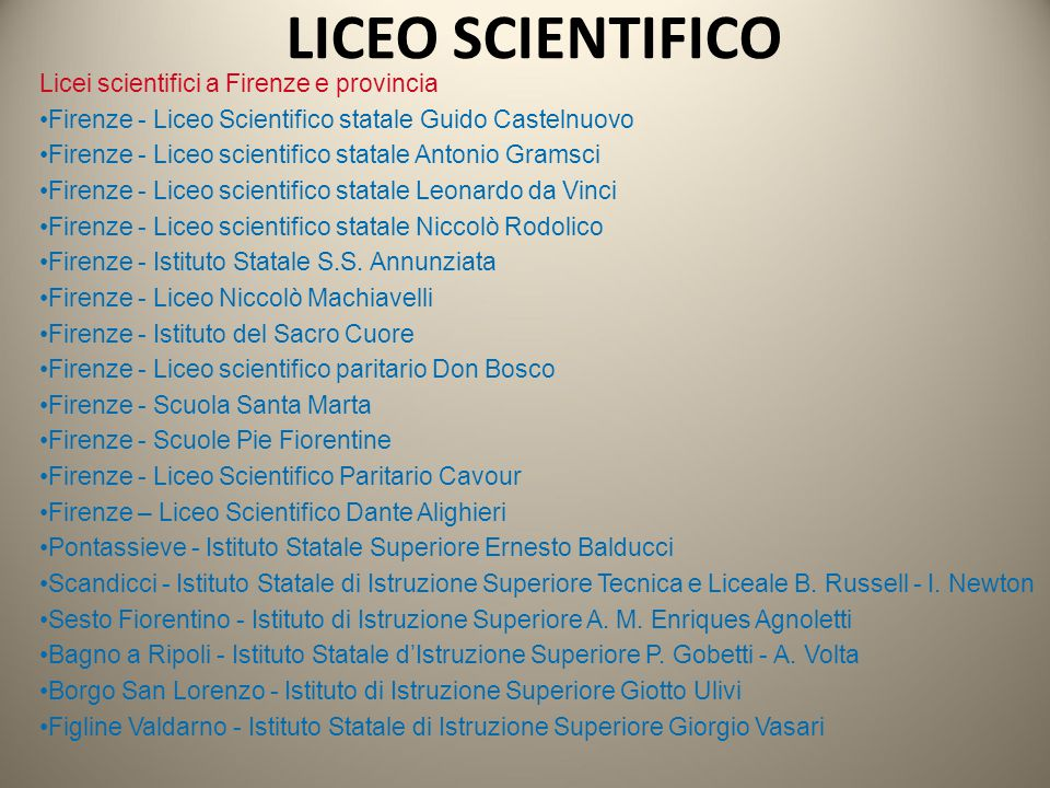 LICEO SCIENTIFICO Licei scientifici a Firenze e provincia