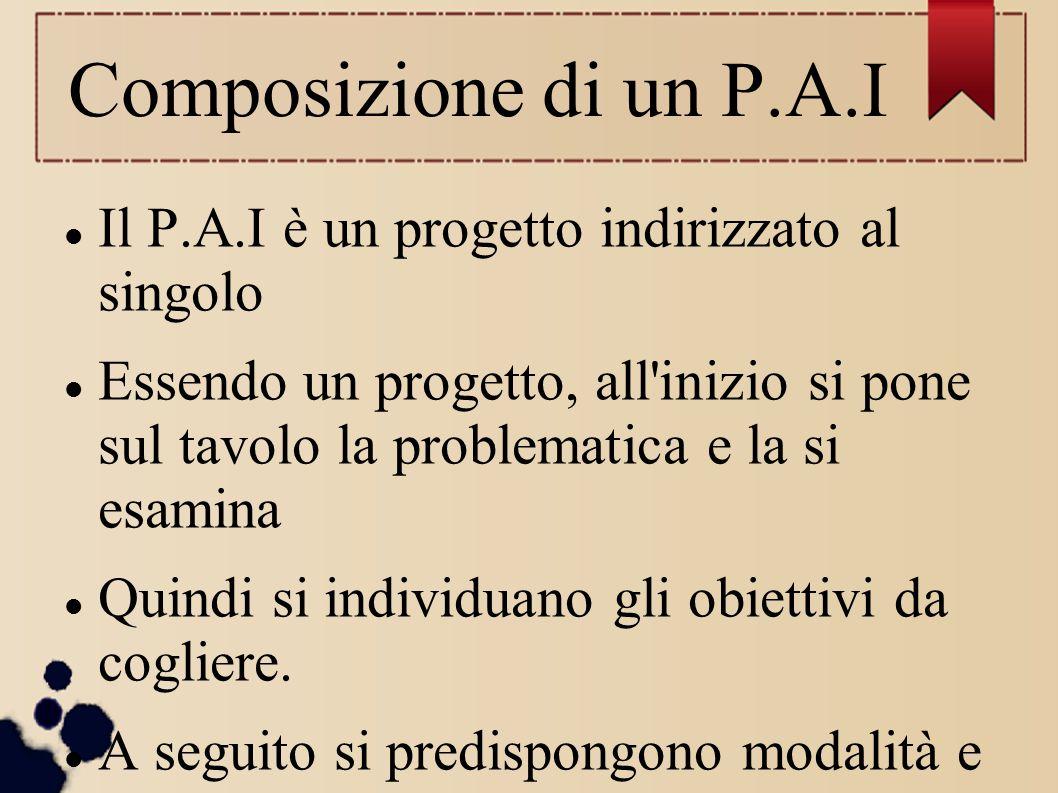 Composizione di un P.A.I Il P.A.I è un progetto indirizzato al singolo