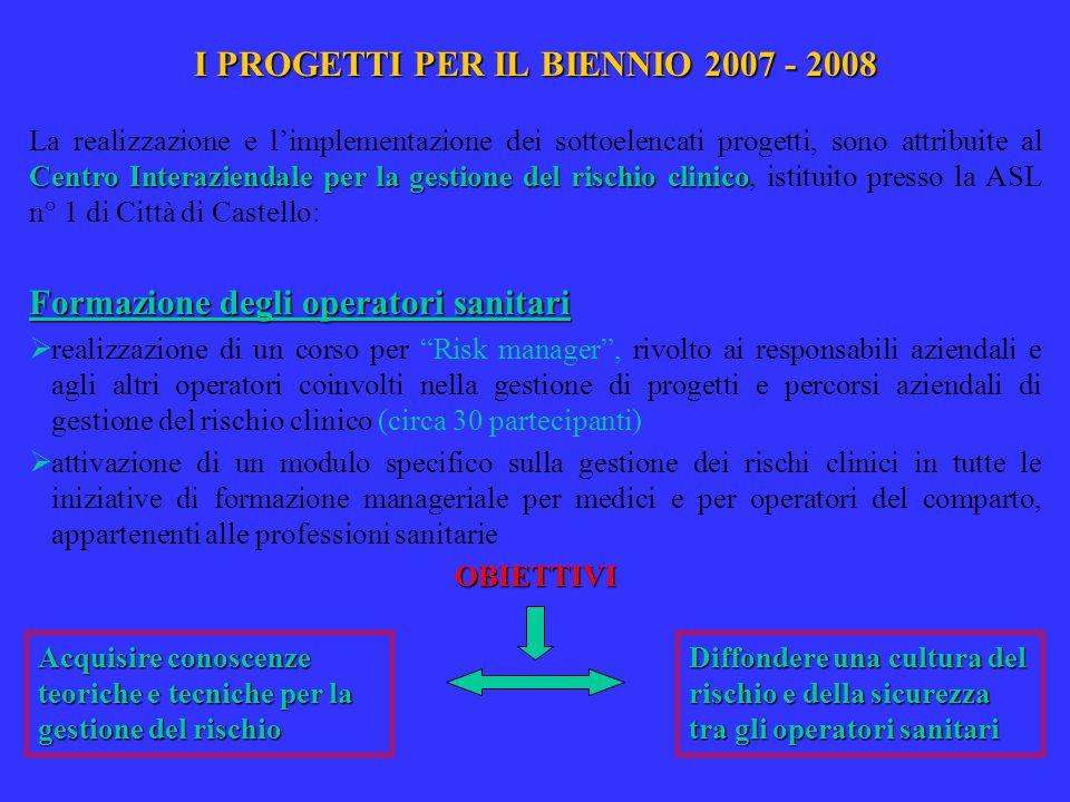 I PROGETTI PER IL BIENNIO 2007 - 2008