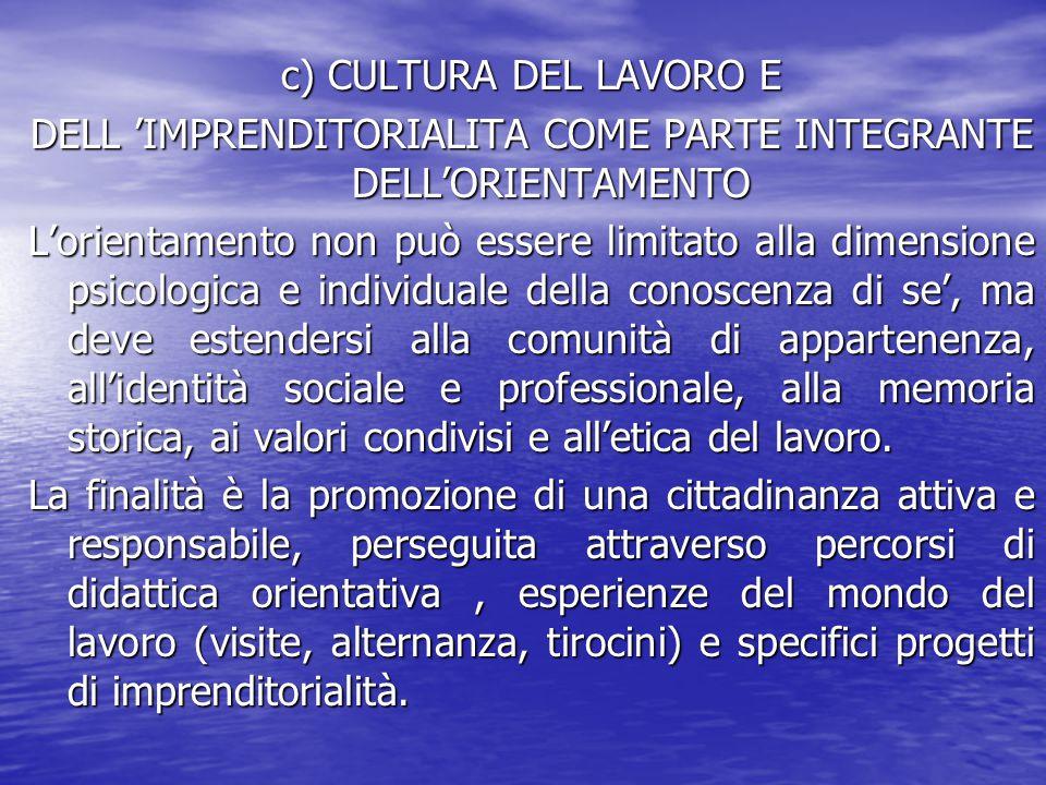 DELL 'IMPRENDITORIALITA COME PARTE INTEGRANTE DELL'ORIENTAMENTO
