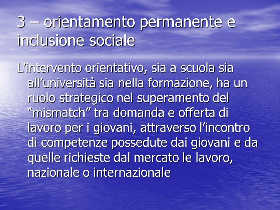 3 – orientamento permanente e inclusione sociale