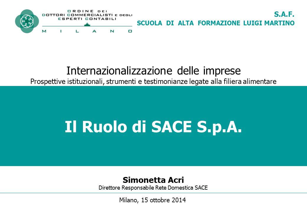 Il Ruolo di SACE S.p.A. Internazionalizzazione delle imprese