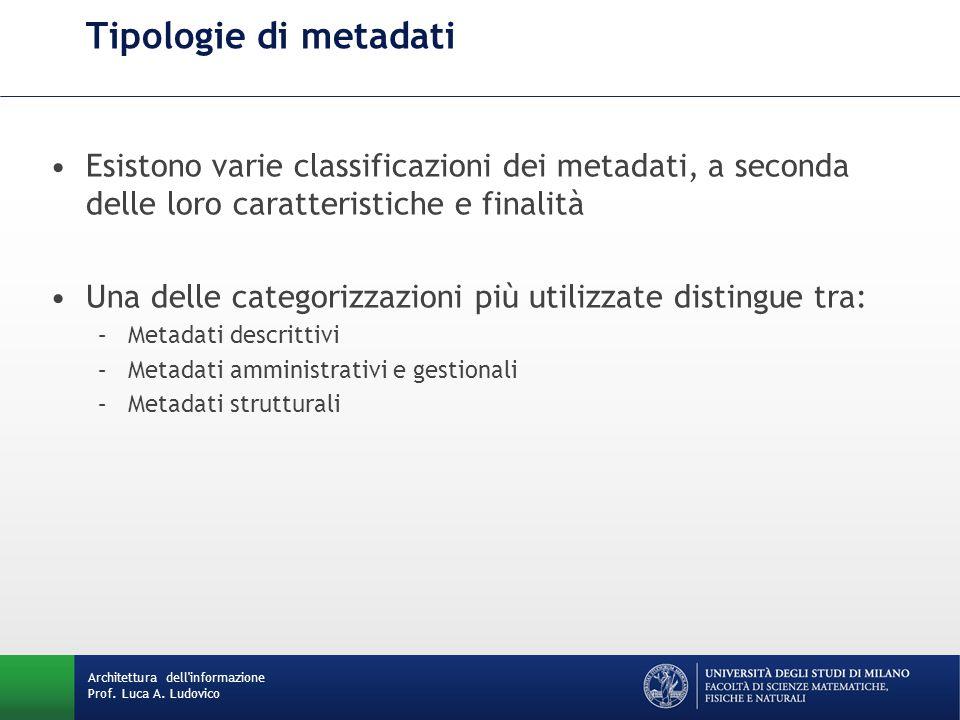 Tipologie di metadati Esistono varie classificazioni dei metadati, a seconda delle loro caratteristiche e finalità.